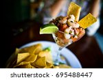 campechana mexican seafood... | Shutterstock . vector #695488447