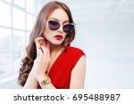 close up studio portrait of... | Shutterstock . vector #695488987