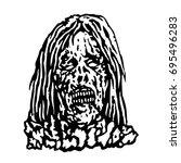 terrible head of zombie woman.... | Shutterstock .eps vector #695496283