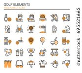 golf elements   thin line and... | Shutterstock .eps vector #695521663