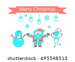 santa claus and reindeer  vector | Shutterstock .eps vector #695548513