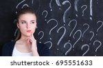 young girl with question mark... | Shutterstock . vector #695551633