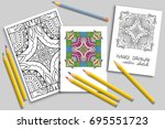coloring page with colorful... | Shutterstock .eps vector #695551723