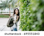 summer sunny lifestyle fashion... | Shutterstock . vector #695551843