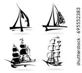 sailing set  on white... | Shutterstock .eps vector #695552383