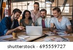 beautiful young business people ... | Shutterstock . vector #695559727