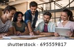 beautiful young business people ... | Shutterstock . vector #695559817