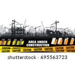 construction silhouette... | Shutterstock .eps vector #695563723