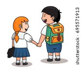 2 students in uniform hold them ... | Shutterstock .eps vector #695571913