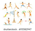 active people men and women on... | Shutterstock .eps vector #695582947