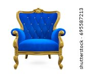 blue throne chair isolated. 3d...   Shutterstock . vector #695587213