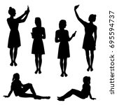 set silhouettes of a woman ... | Shutterstock .eps vector #695594737