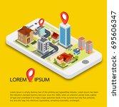 flat 3d isometric mobile gps... | Shutterstock .eps vector #695606347