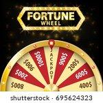 gold realistic fortune wheel 3d ... | Shutterstock .eps vector #695624323