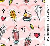 seamless pattern in youthful... | Shutterstock .eps vector #695624347