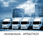 trucks lorries loading... | Shutterstock . vector #695627623