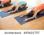 yoga class  group of people... | Shutterstock . vector #695631757