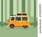 camper van in the forest flat...