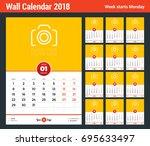 wall calendar template for 2018 ... | Shutterstock .eps vector #695633497