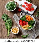 vegetarian buddha bowl with... | Shutterstock . vector #695634223