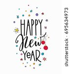 merry christmas happy new year... | Shutterstock .eps vector #695634973