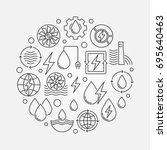 water power round illustration. ... | Shutterstock .eps vector #695640463