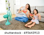 young mother with cute little... | Shutterstock . vector #695643913