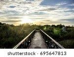 the bridge walkway sky...   Shutterstock . vector #695647813