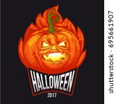 halloween party lettering logo... | Shutterstock . vector #695661907
