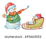merry snowmen.illustration of... | Shutterstock . vector #695663053