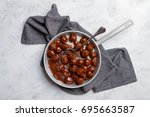 minced meat ball in tomato... | Shutterstock . vector #695663587