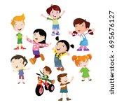 variation of pose playing kids... | Shutterstock .eps vector #695676127
