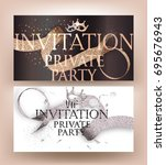private party cards with... | Shutterstock .eps vector #695676943