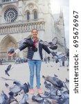Girl With Pigeon Birds Near...