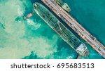 aerial view of green tanker...   Shutterstock . vector #695683513