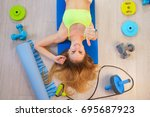 fitness accessories rope... | Shutterstock . vector #695687923