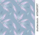 pastel foliage seamless pattern.... | Shutterstock .eps vector #695689597