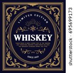 whiskey label antique engrave... | Shutterstock .eps vector #695699173