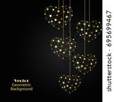 gold hearts made of connected...   Shutterstock .eps vector #695699467