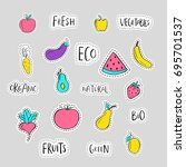 healthy sticker  embroidery ... | Shutterstock .eps vector #695701537