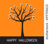 happy halloween card. black... | Shutterstock .eps vector #695703613