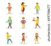 zombies.  vector. cartoon.... | Shutterstock .eps vector #695708677
