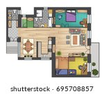 colorful floor plan of a house.   Shutterstock .eps vector #695708857