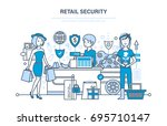 retail security. shopping ... | Shutterstock .eps vector #695710147