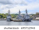 Small photo of YOKOSUKA, JAPAN - MAY 4, 2017: Japan Maritime Self-Defense Force Aegis guided missile destroyers are moored to a dock at the Yokosuka Naval Port.