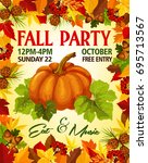 fall party invitation poster of ...   Shutterstock .eps vector #695713567