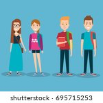 group of happy students with... | Shutterstock .eps vector #695715253