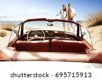 summer time on beach with two... | Shutterstock . vector #695715913