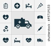 medicine icons set. collection... | Shutterstock .eps vector #695719153