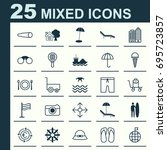 tourism icons set. collection... | Shutterstock .eps vector #695723857
